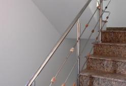 Balustrada inox cu bile din lemn model 07