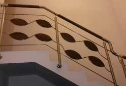 Balustrada inox cu lemn model 06