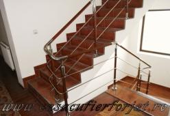 Balustrada inox cu lemn model 09