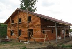 Casa din lemn pe structura metalica