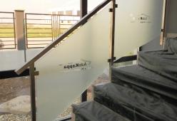 Balustrada inox cu sticla sablata personalizata model 02